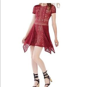 BCBG Aileen red lace cocktail dress